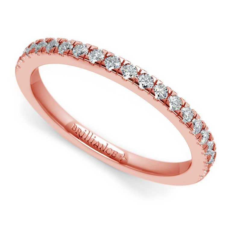 Petite Pave Diamond Wedding Ring in Rose Gold (1/4 ctw)   01