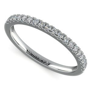 Petite Scallop Diamond Wedding Ring in Platinum