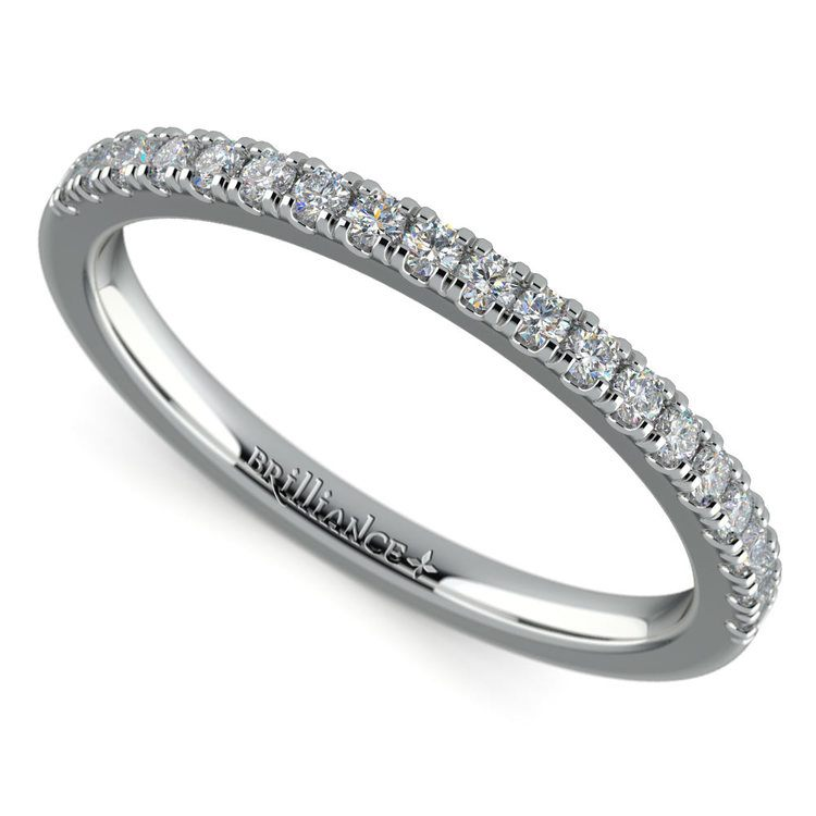 Petite Scallop Diamond Wedding Ring in Platinum | 01