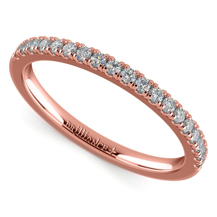 Petite Scallop Diamond Wedding Ring in Rose Gold | 01