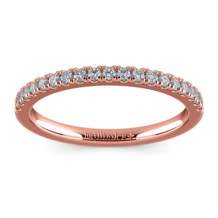 Petite Scallop Diamond Wedding Ring in Rose Gold | 02