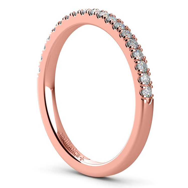 Petite Scallop Diamond Wedding Ring in Rose Gold | 04