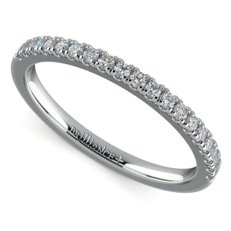 Petite Scallop Diamond Wedding Ring in White Gold | 01