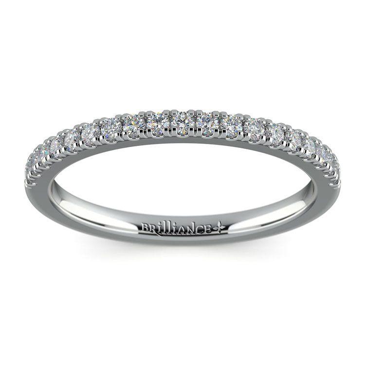 Petite Scallop Diamond Wedding Ring in White Gold | 02