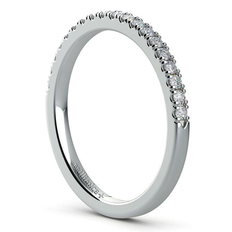 Petite Scallop Diamond Wedding Ring in White Gold | 04