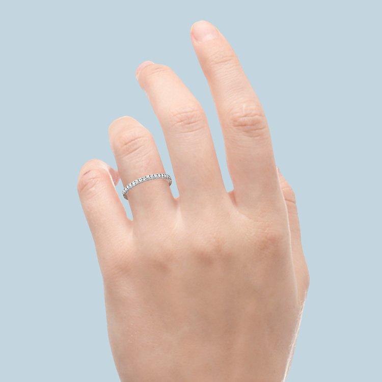 Petite Scallop Diamond Wedding Ring in White Gold | 06