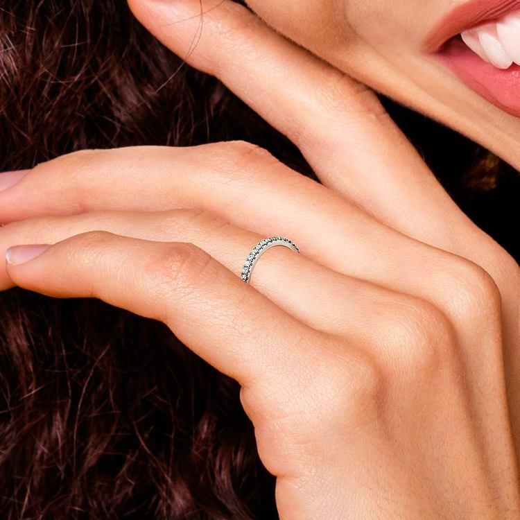Petite Scallop Diamond Wedding Ring in White Gold | 07