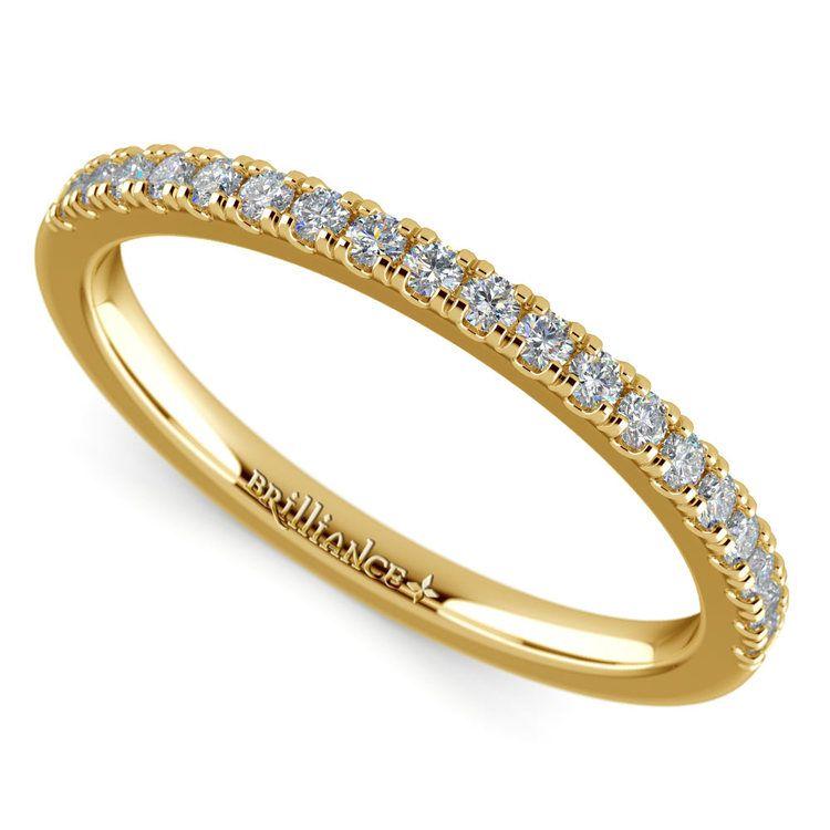 Petite Scallop Diamond Wedding Ring in Yellow Gold | 01