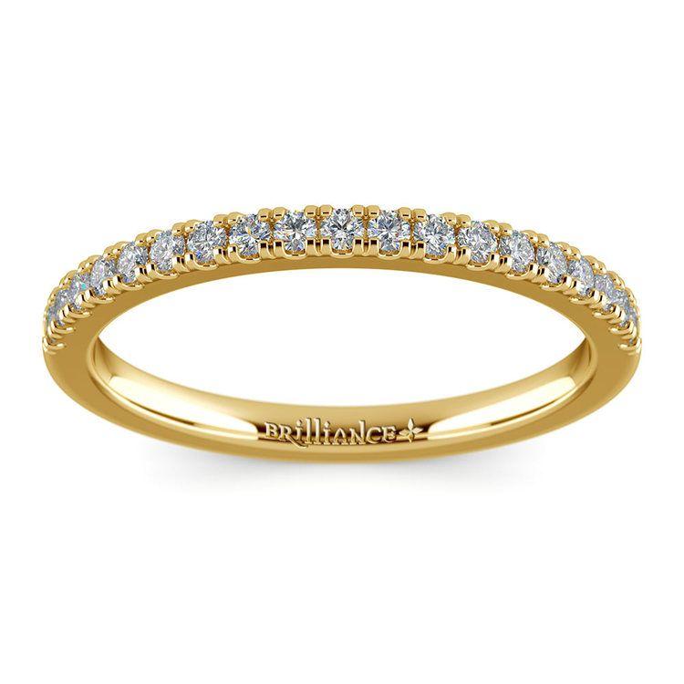 Petite Scallop Diamond Wedding Ring in Yellow Gold | 02