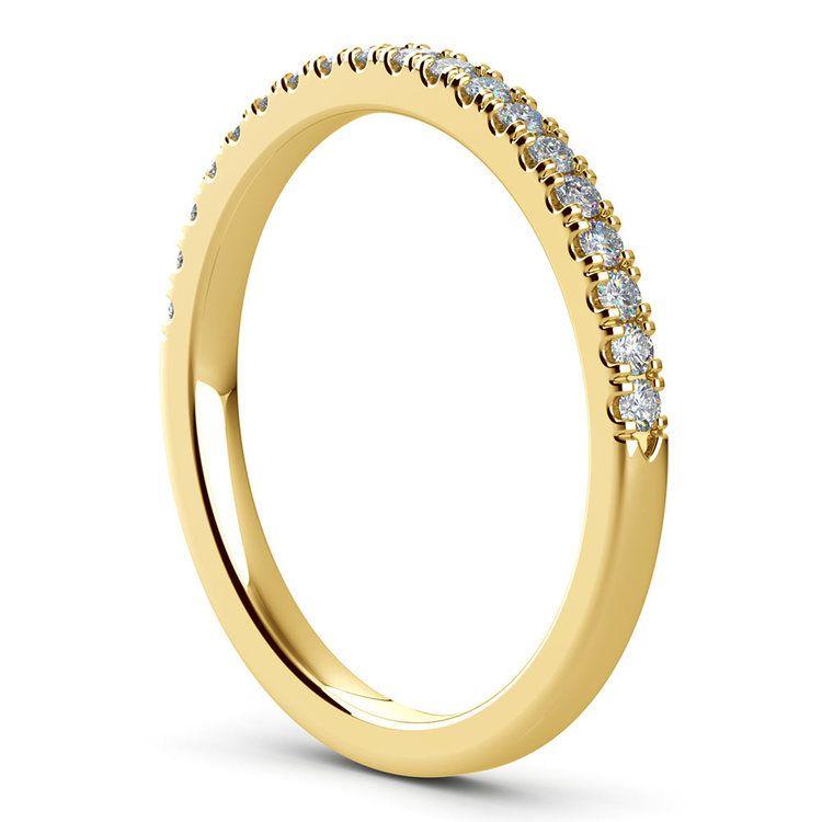 Petite Scallop Diamond Wedding Ring in Yellow Gold | 04