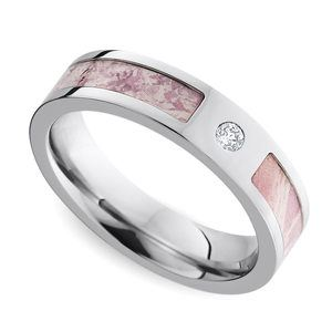 Pink Camo Inlay Diamond Wedding Ring in Cobalt