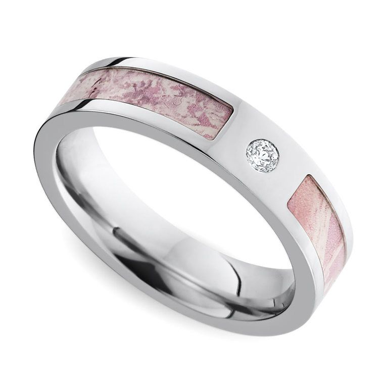 Pink Camo Inlay Diamond Wedding Ring in Cobalt | 01