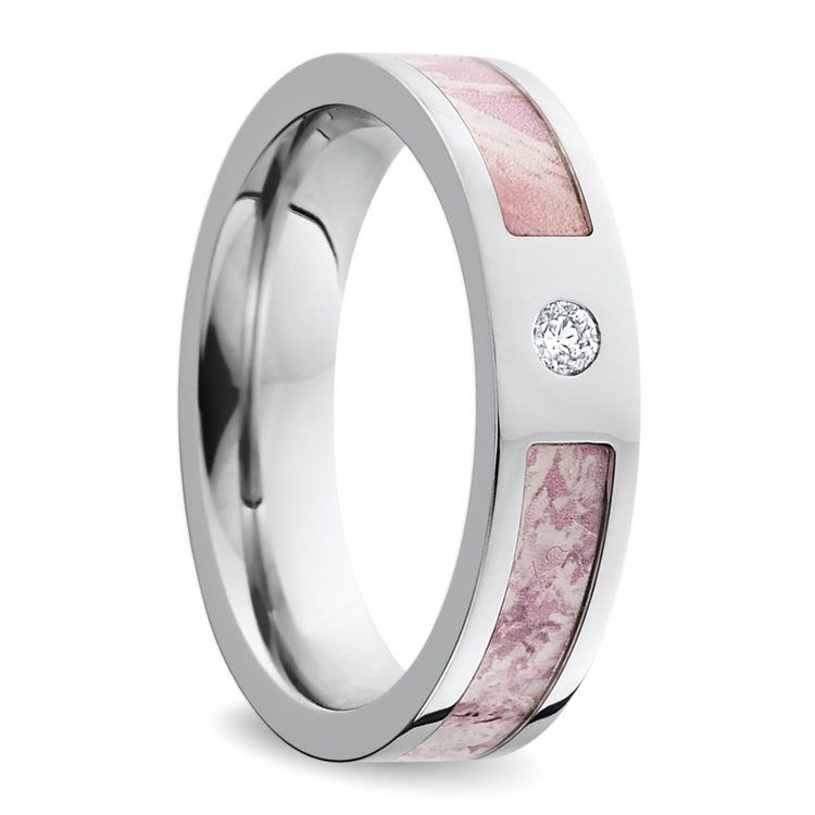 Pink Camo Inlay Diamond Wedding Ring in Cobalt | 02