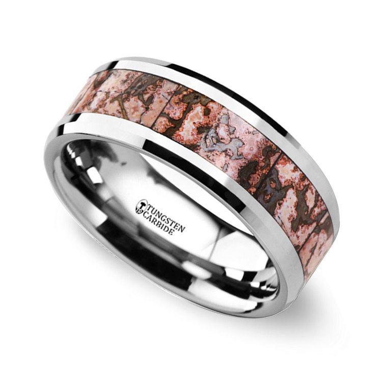 Beveled Pink Dinosaur Bone Inlaid Men's Wedding Ring in Tungsten | 01