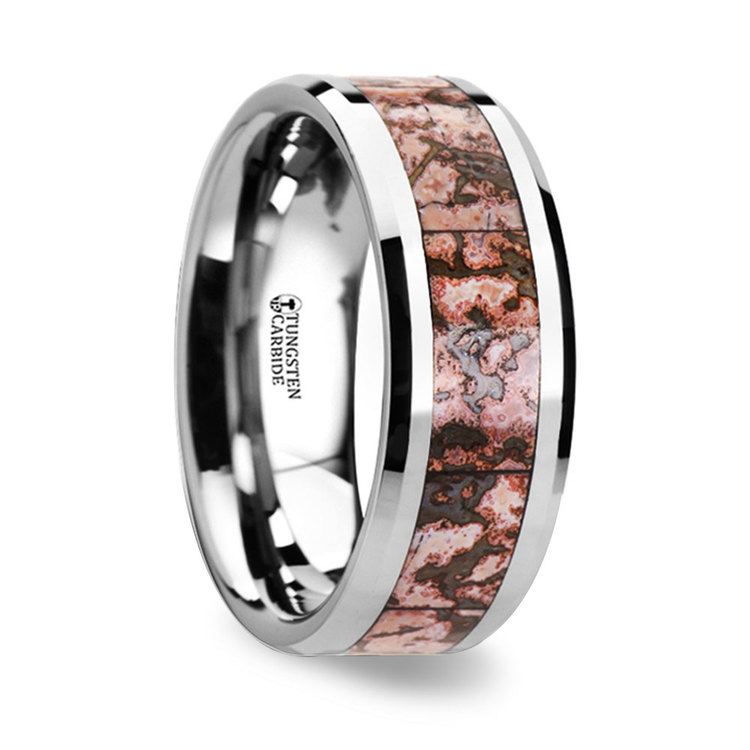 Beveled Pink Dinosaur Bone Inlaid Men's Wedding Ring in Tungsten | 02