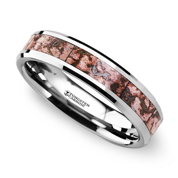 Pink Dinosaur Bone Inlay Wedding Ring in Tungsten | 01