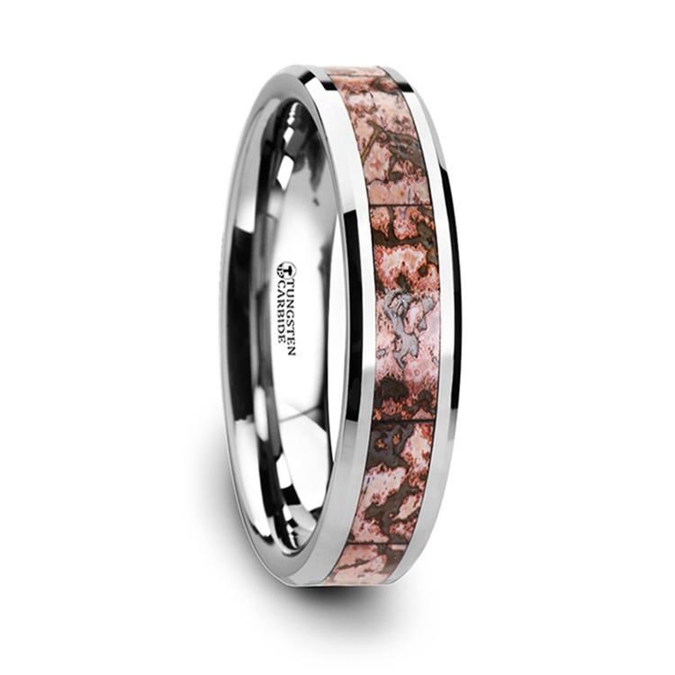 Pink Dinosaur Bone Inlay Wedding Ring in Tungsten | 02
