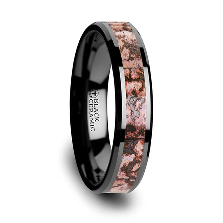 Pink Dinosaur Bone Inlay Wedding Ring In Black Ceramic (4mm) | 02