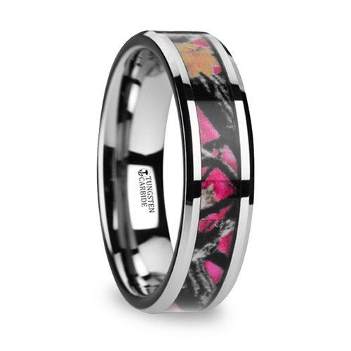 pink oak leaf camo wedding ring in tungsten - Camo Wedding Rings For Him