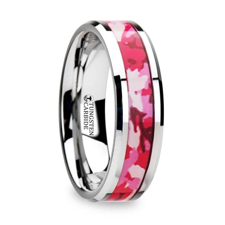 Pink & White Camouflage Inlay Wedding Ring in Tungsten | 02