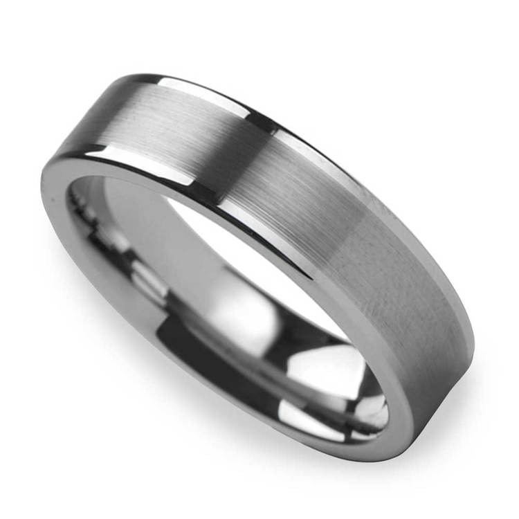 Pipe Cut Men's 6mm Brushed Tungsten Wedding Band | 01