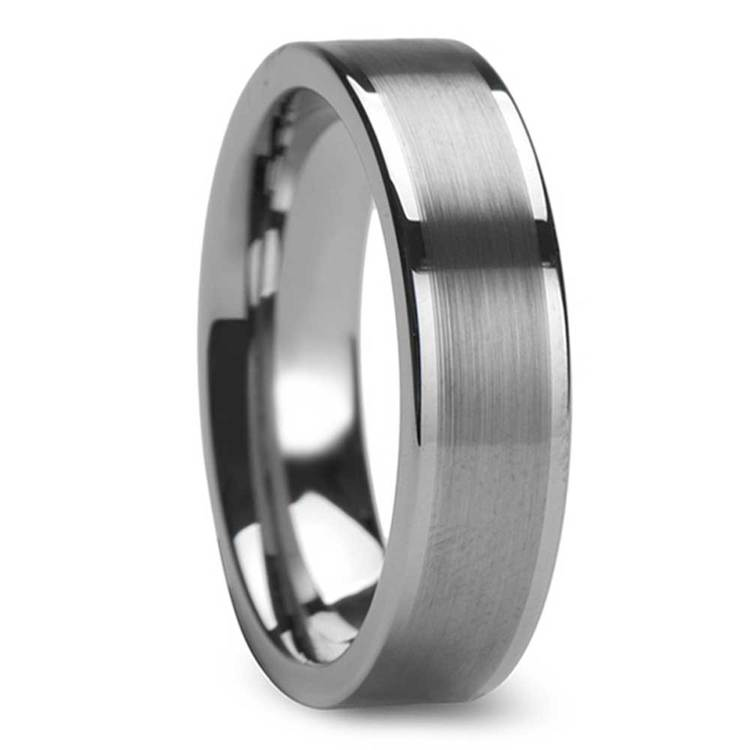 Tungsten Mens Band with Brushed Finished Center (6mm) | 02