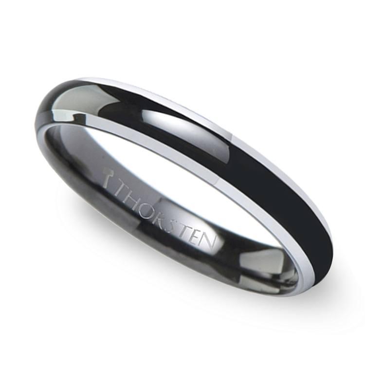 Polished Bevel Edge Wedding Ring in Black Tungsten (4mm) | 01