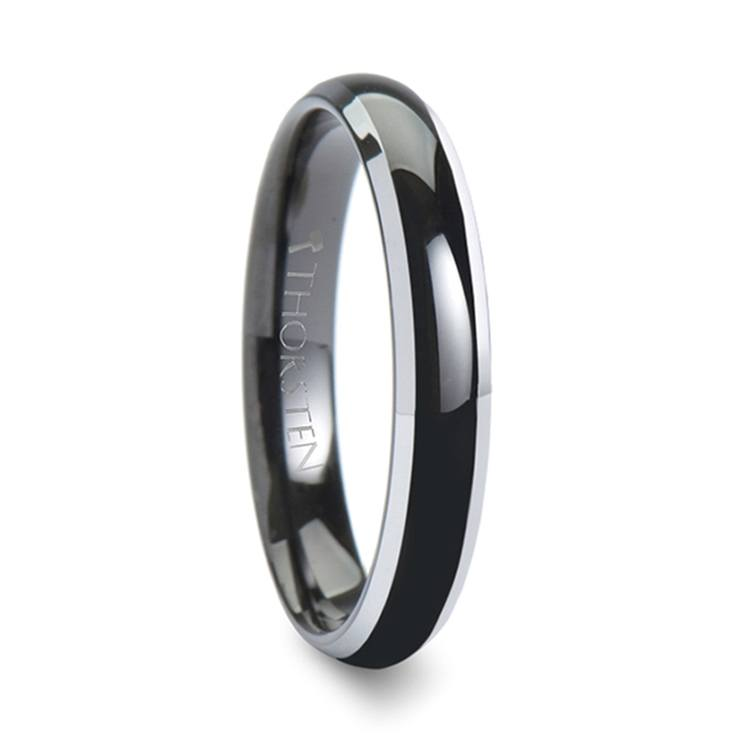 Polished Bevel Edge Wedding Ring in Black Tungsten (4mm) | 02