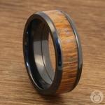Bourbon Barrel - Zirconium & Leopardwood Mens Wedding Band | Thumbnail 05