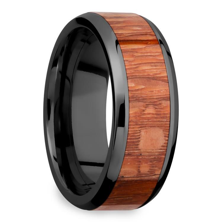 Bourbon Barrel - Zirconium & Leopardwood Mens Wedding Band | 02