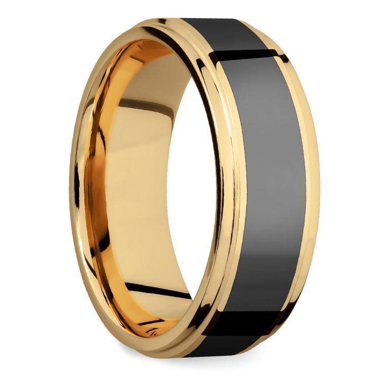 Poseidon - Step Edge Elysium Ring in Yellow Gold | 02