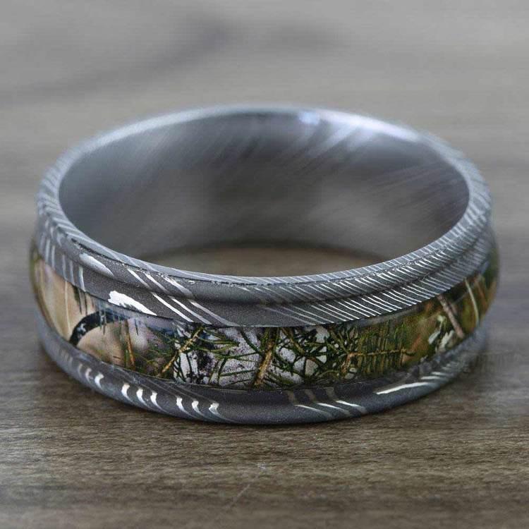 Predator -  Damascus Steel Mens Ring with Kings Mountain Inlay   03