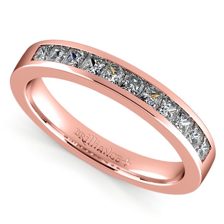 Princess Channel Diamond Wedding Ring in Rose Gold (1/2 ctw) | 01