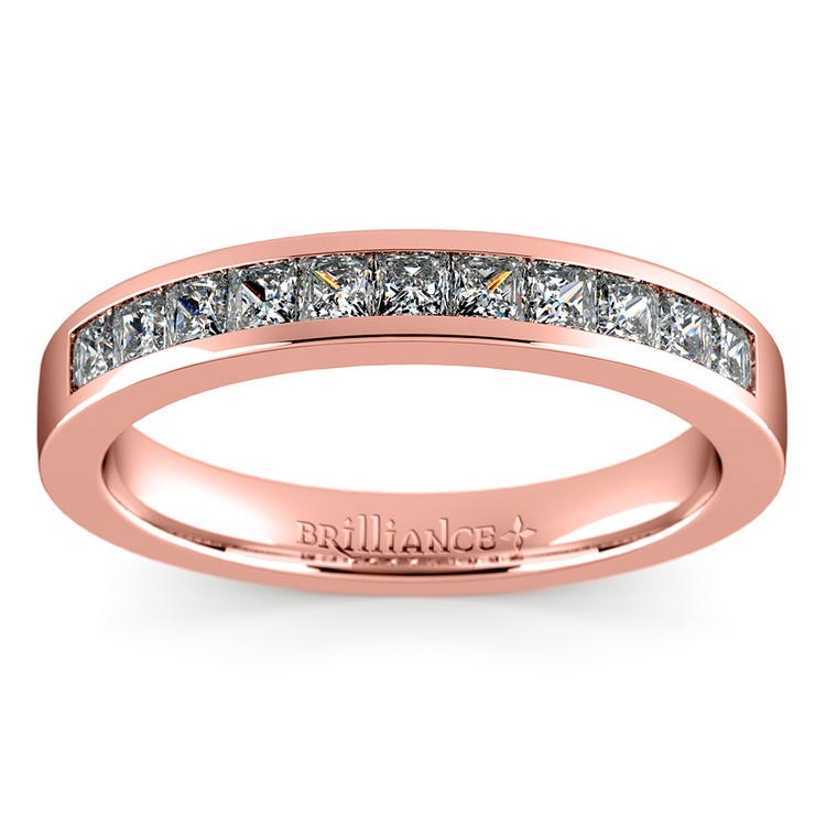 Princess Channel Diamond Wedding Ring in Rose Gold (1/2 ctw) | 02