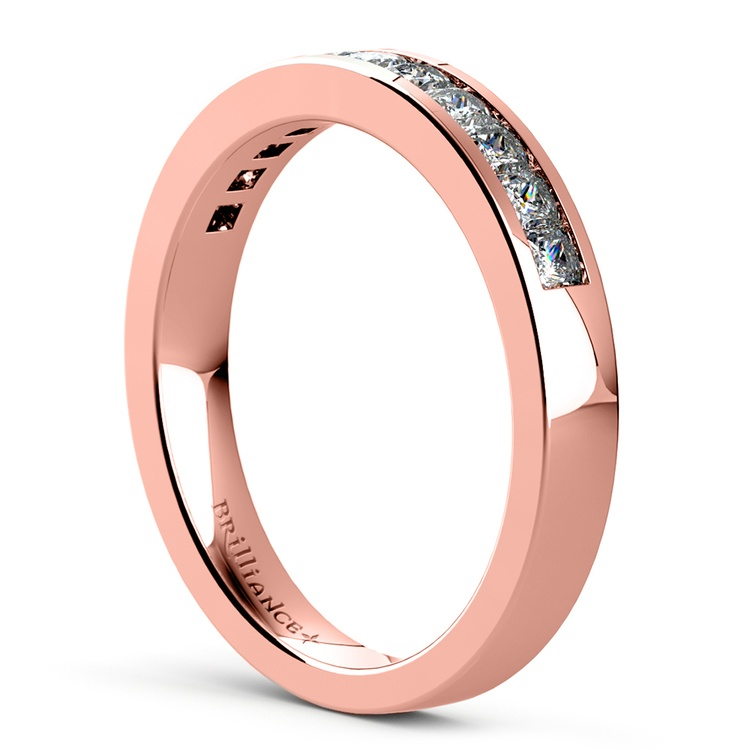Princess Channel Diamond Wedding Ring in Rose Gold (1/2 ctw) | 04