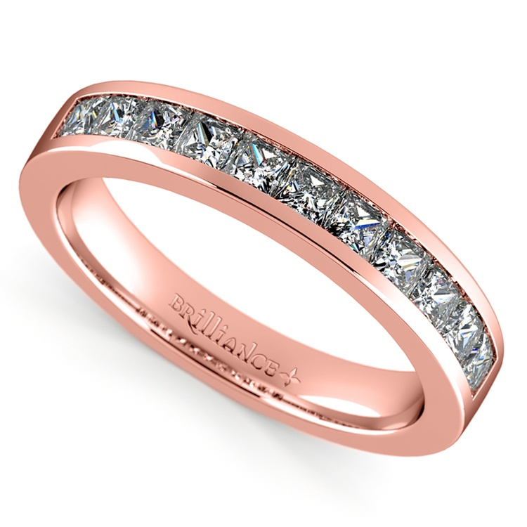 Princess Channel Diamond Wedding Ring in Rose Gold (3/4 ctw) | 01