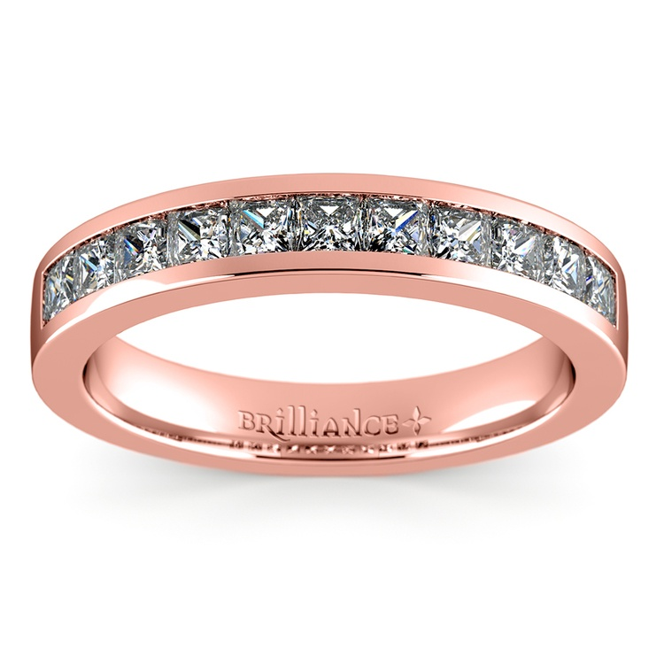 Princess Channel Diamond Wedding Ring in Rose Gold (3/4 ctw) | 02