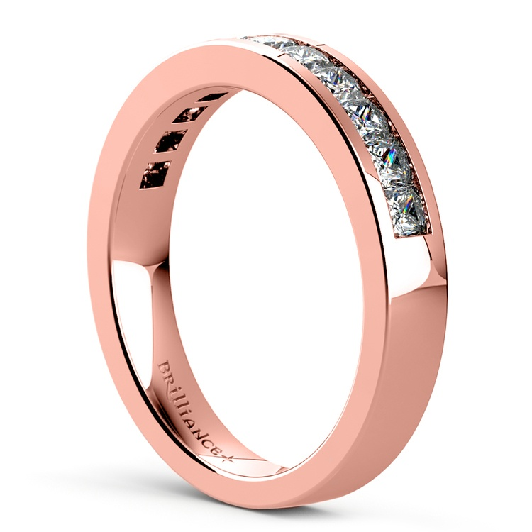 Princess Channel Diamond Wedding Ring in Rose Gold (3/4 ctw) | 04