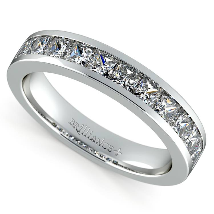Princess Channel Diamond Wedding Ring in White Gold (1 ctw) | 01