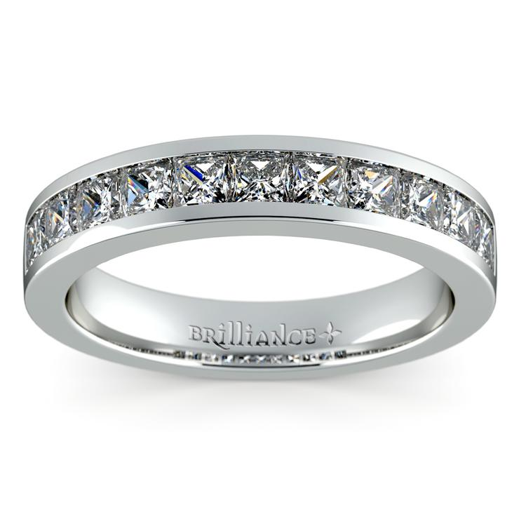 Princess Channel Diamond Wedding Ring in White Gold (1 ctw) | 02