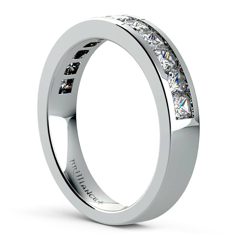 Princess Channel Diamond Wedding Ring in White Gold (1 ctw) | 04