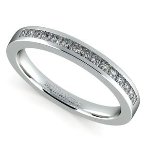 Princess Channel Diamond Wedding Ring in White Gold