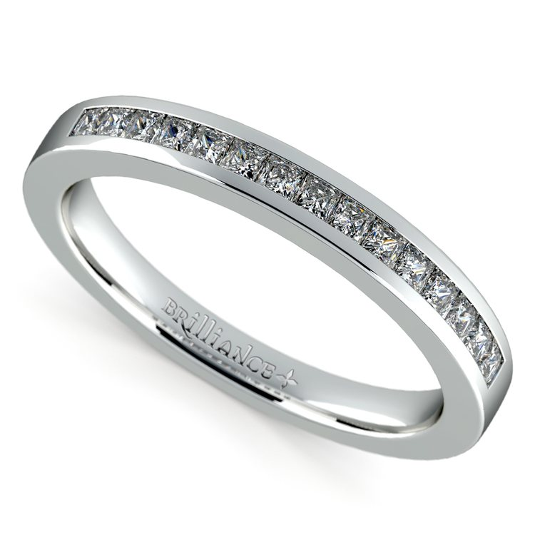 Princess Channel Diamond Wedding Ring in White Gold | 01