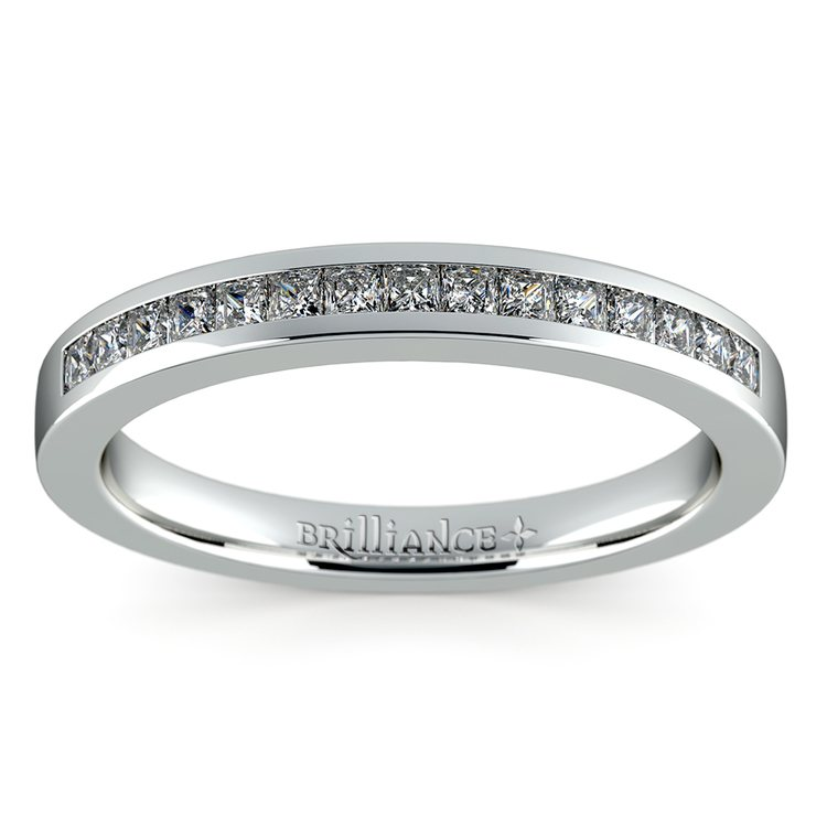 Princess Channel Diamond Wedding Ring in White Gold | 02