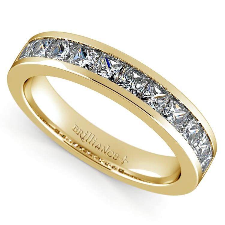 Princess Channel Diamond Wedding Ring in Yellow Gold (1 ctw) | 01
