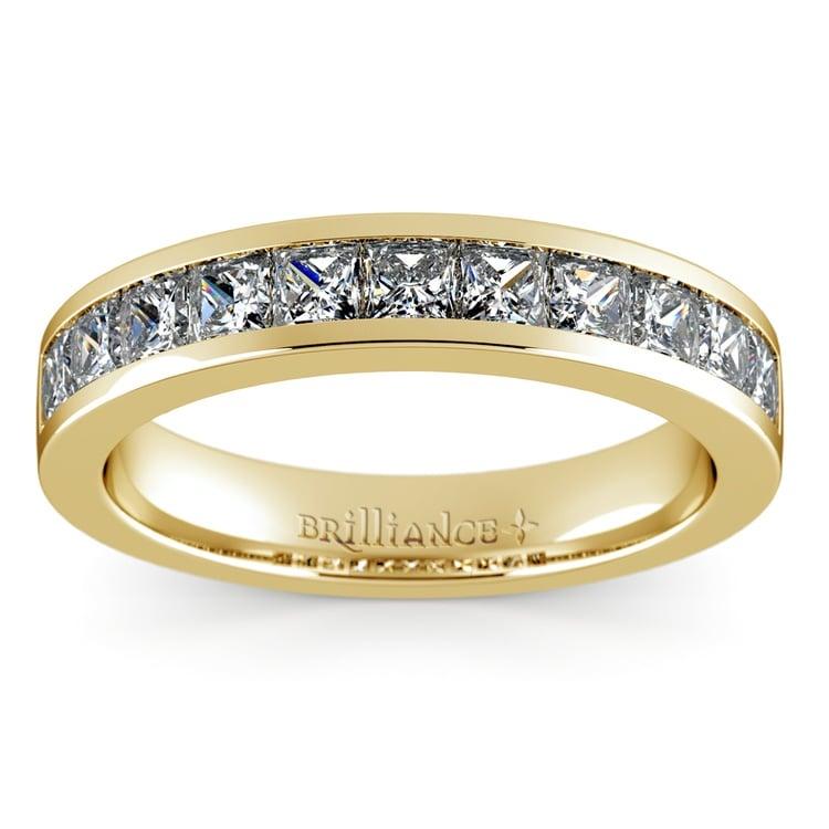 Princess Channel Diamond Wedding Ring in Yellow Gold (1 ctw) | 02