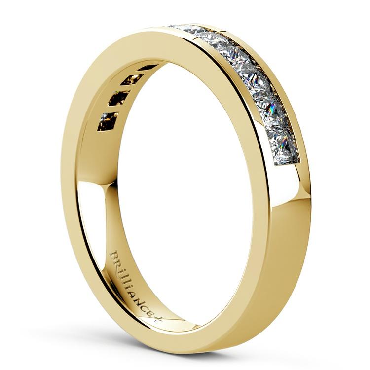 Princess Channel Diamond Wedding Ring in Yellow Gold (1 ctw) | 04
