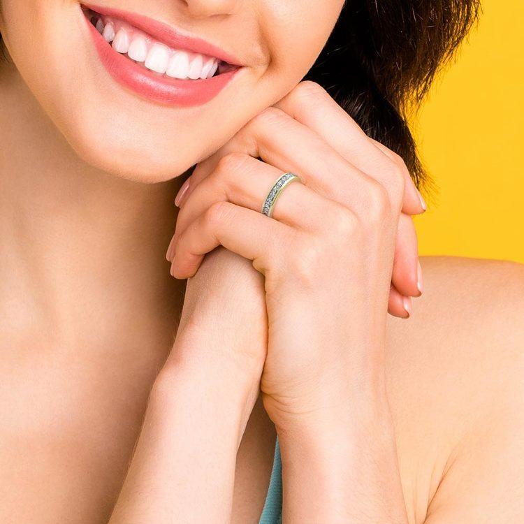 Princess Channel Diamond Wedding Ring in Yellow Gold (1 ctw) | 07