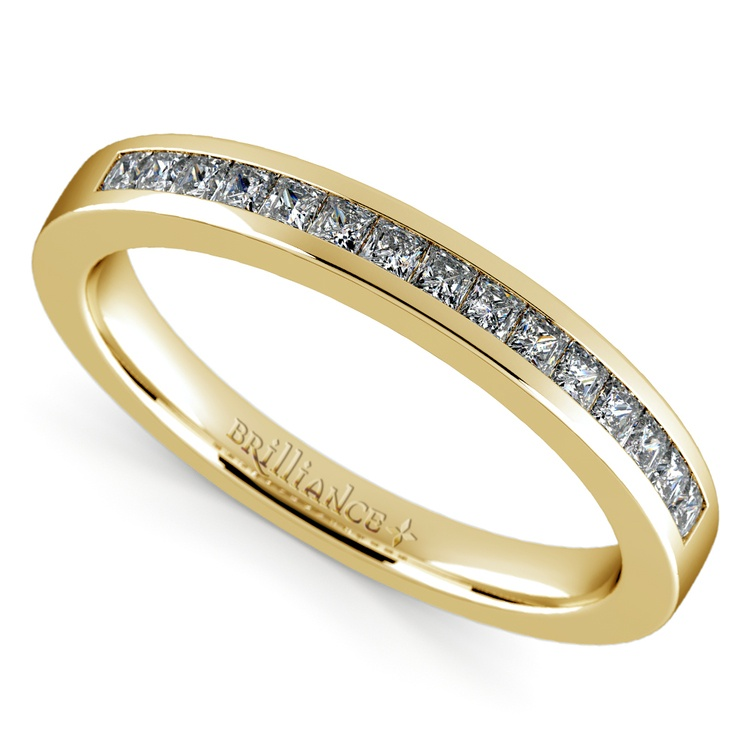 Princess Channel Diamond Wedding Ring in Yellow Gold | 01