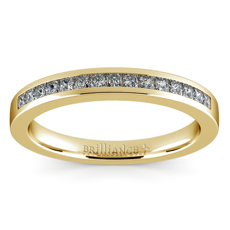 Princess Channel Diamond Wedding Ring in Yellow Gold | 02